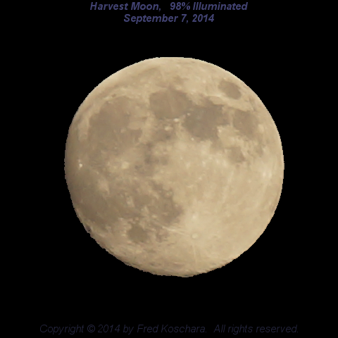 Harvest Moon, 98% Illuminated, September 7, 2014, by Fred Koschara